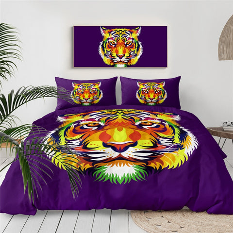 Image of Colorful Tiger Bedding Set - Beddingify