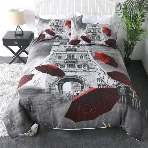 Paris Tower And Red Umbrellas Bedding Set - Beddingify