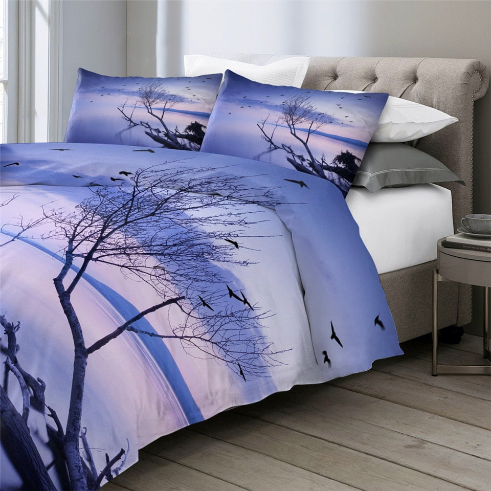 Sunset Lake Birds Bedding Set - Beddingify