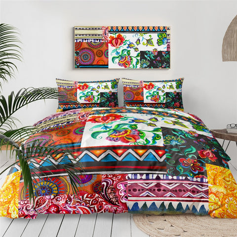 Image of Colorful Patchwork Pattern Bedding Set - Beddingify