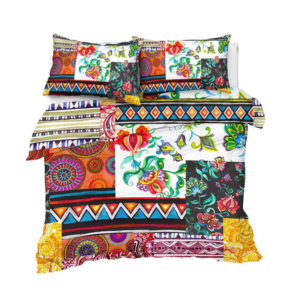 Colorful Patchwork Pattern Bedding Set - Beddingify