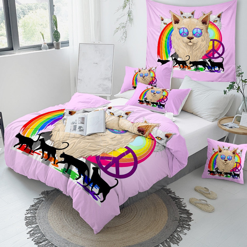 Rainbow Pink Cat Bedding Set - Beddingify