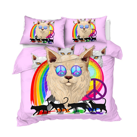 Image of Rainbow Pink Cat Bedding Set - Beddingify