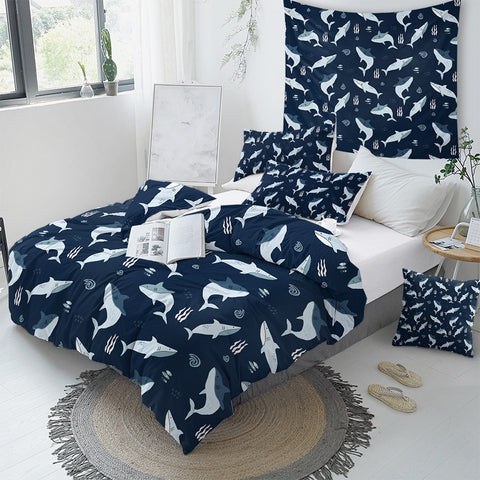 Image of Shark Themed Bedding Set For Kids - Beddingify