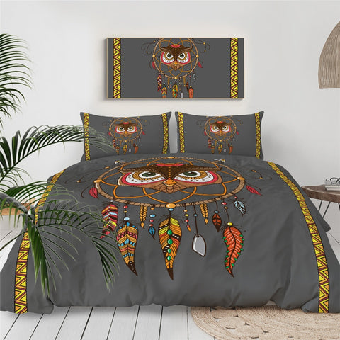 Image of Tribal Owl Dreamcatcher Bedding Set - Beddingify