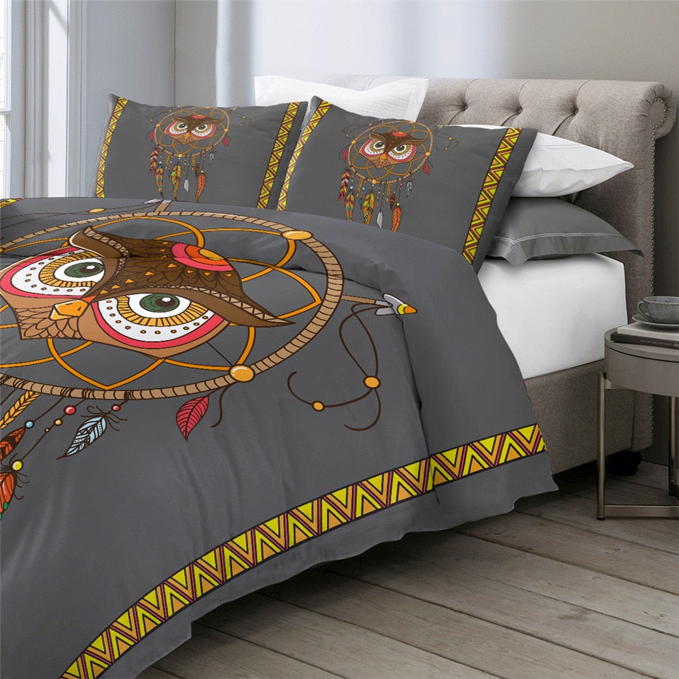 Tribal Owl Dreamcatcher Bedding Set - Beddingify