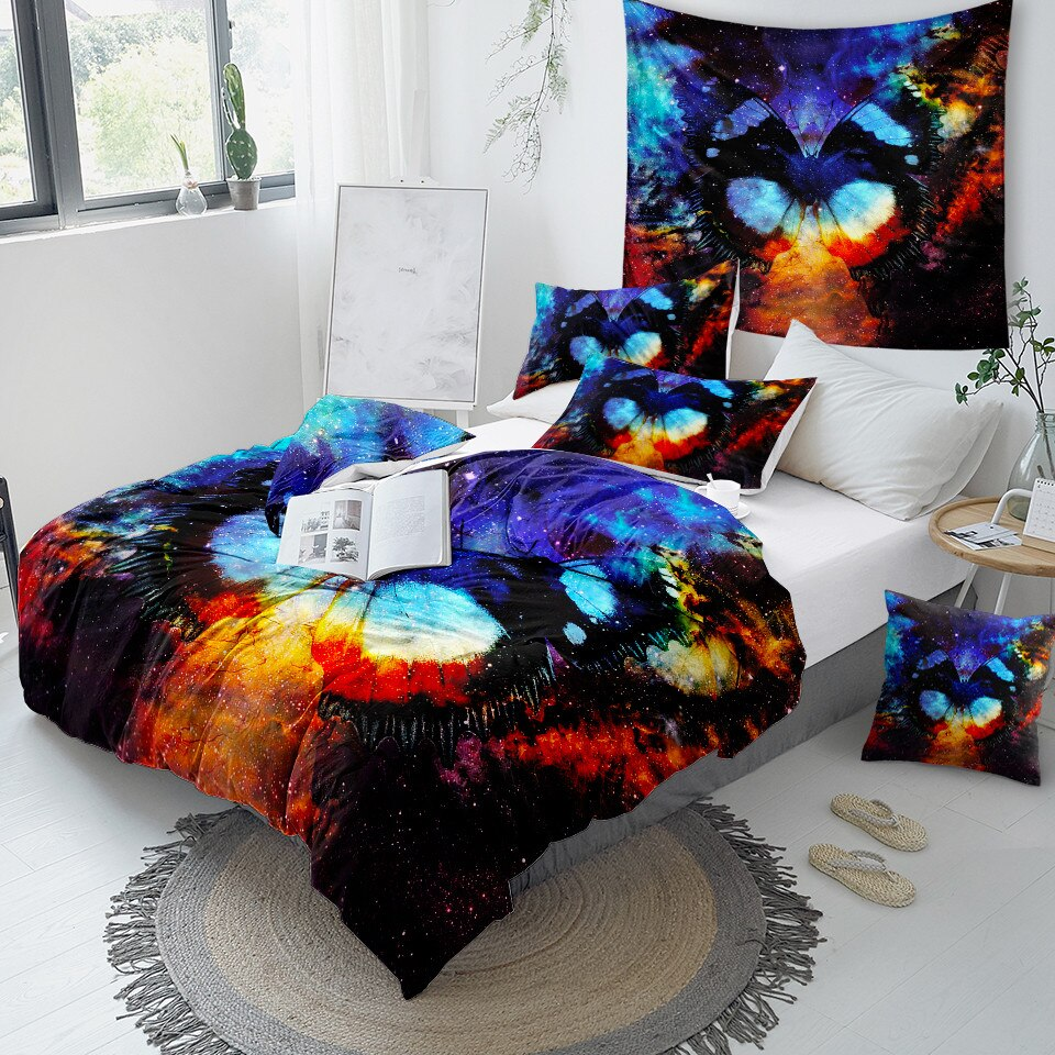 Cosmic Space Butterfly Bedding Set - Beddingify