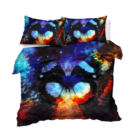 Image of Cosmic Space Butterfly Bedding Set - Beddingify
