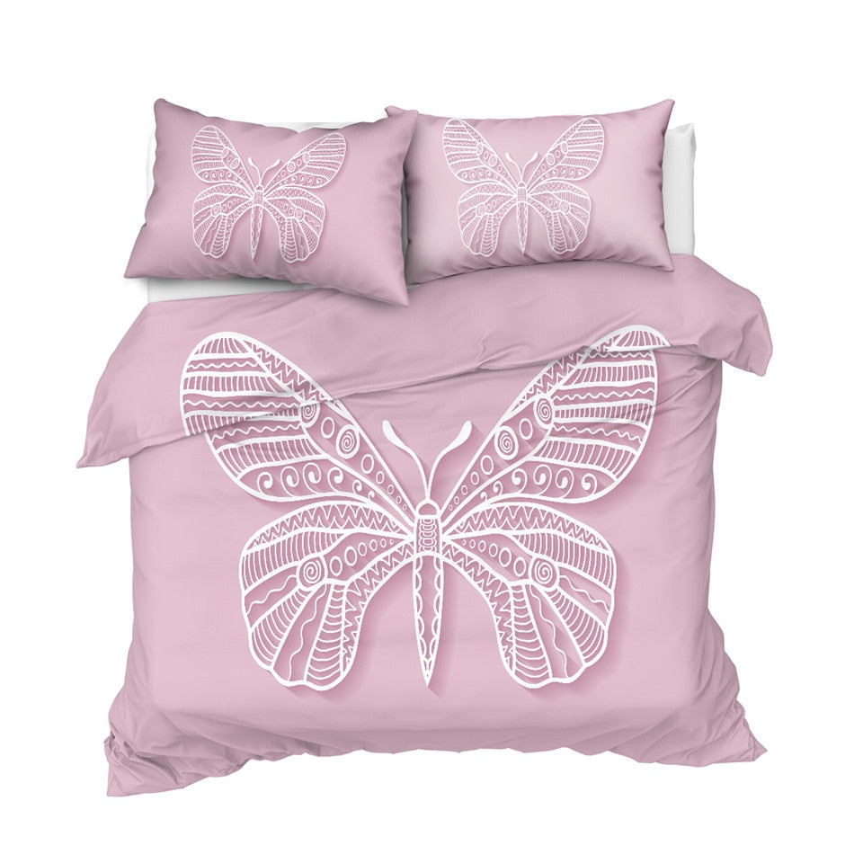 Pink Butterfly Bedding Set - Beddingify