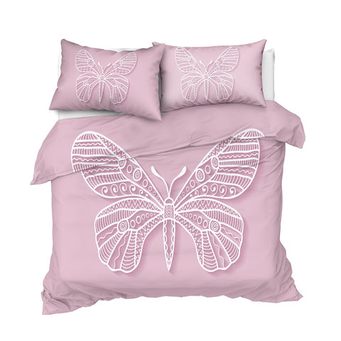 Image of Pink Butterfly Bedding Set - Beddingify