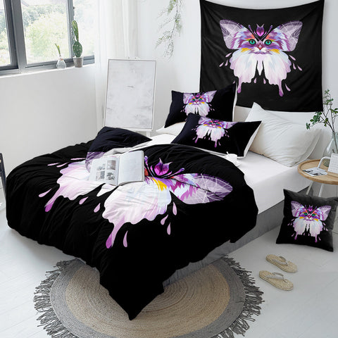 Butterfly And Cat Face Bedding Set - Beddingify