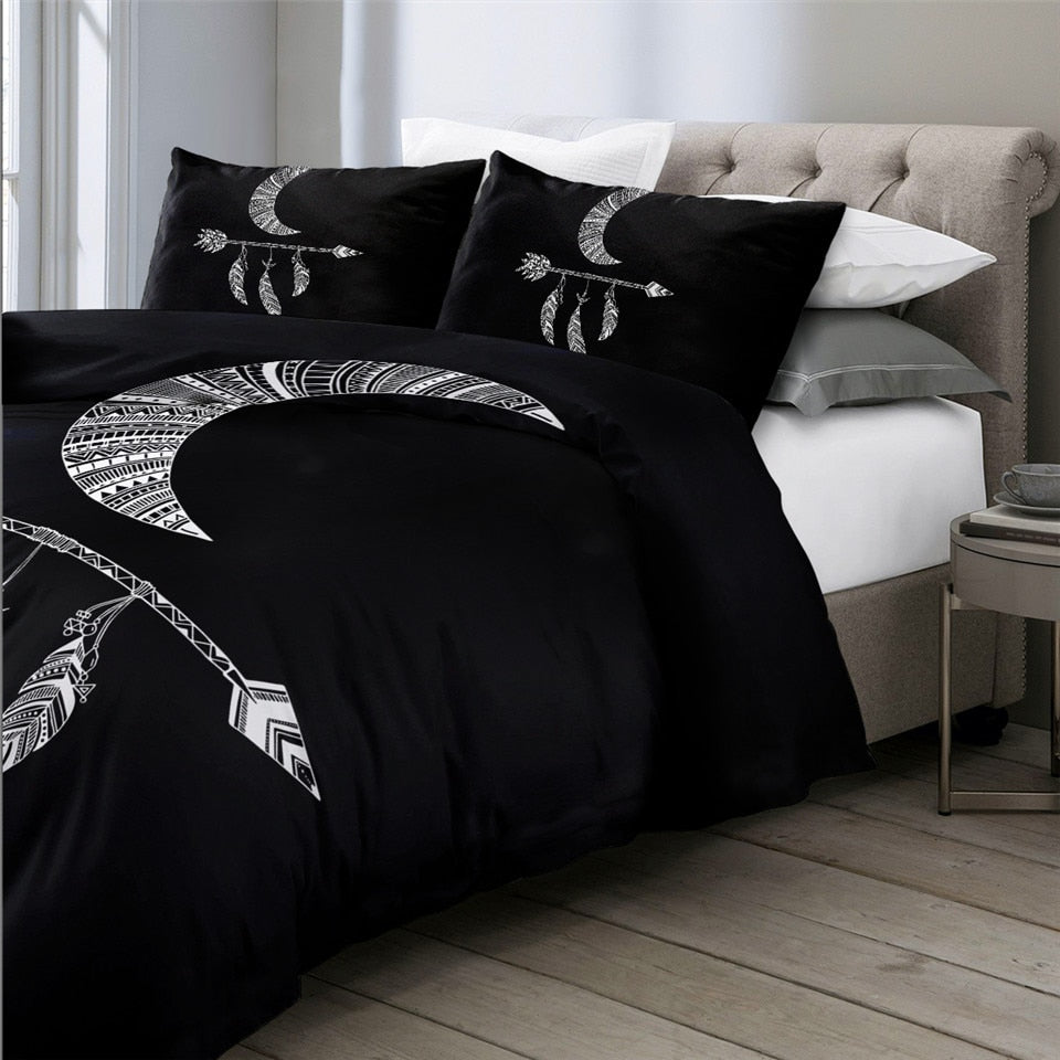 Black Tribal Arrows Ethnic Bedding Set - Beddingify