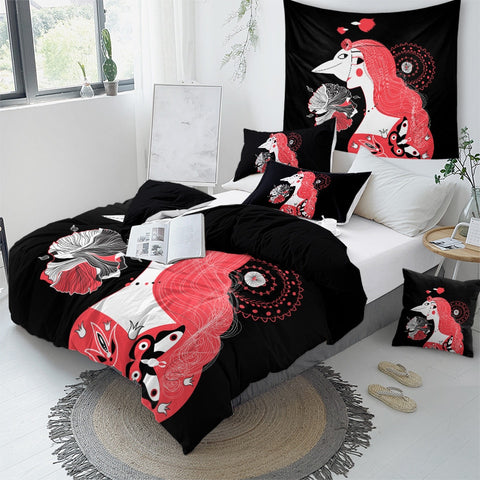 Image of Girl Portrait Butterfly Bedding Set - Beddingify