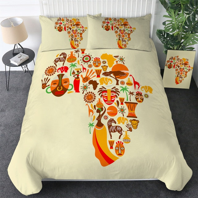 African Cultural Map Bedding Set - Beddingify