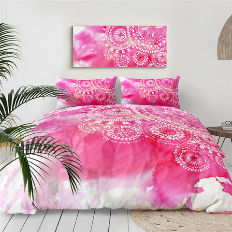 Image of Pink Tie Dye Mandala Indigo Bedding Set - Beddingify