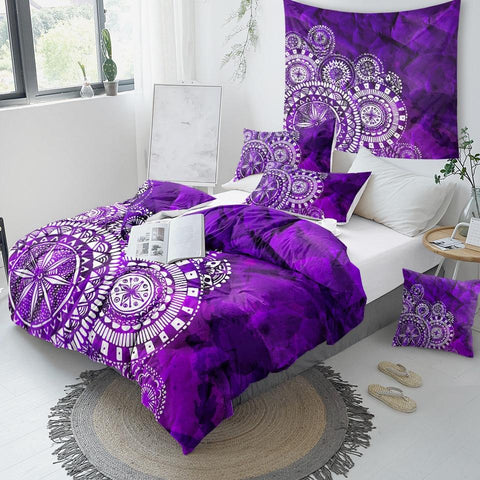 Image of Purple Mandala Indigo Comforter Set - Beddingify