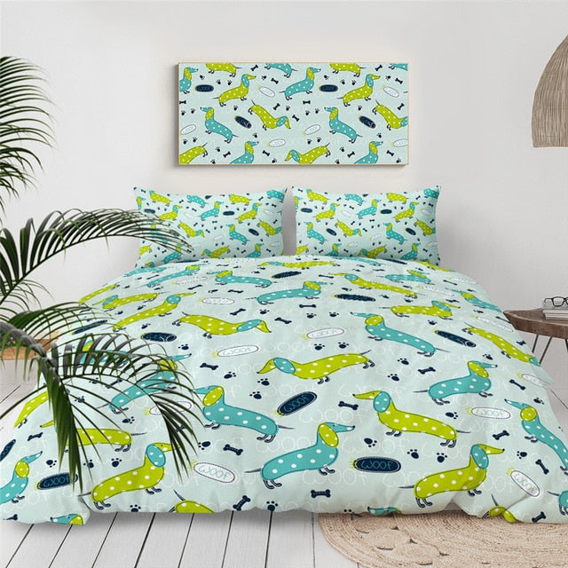 Polka Dot Dachshund Bedding Set - Beddingify