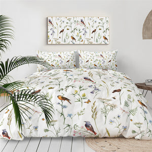 Butterfly Birds Floral Bedding Set - Beddingify