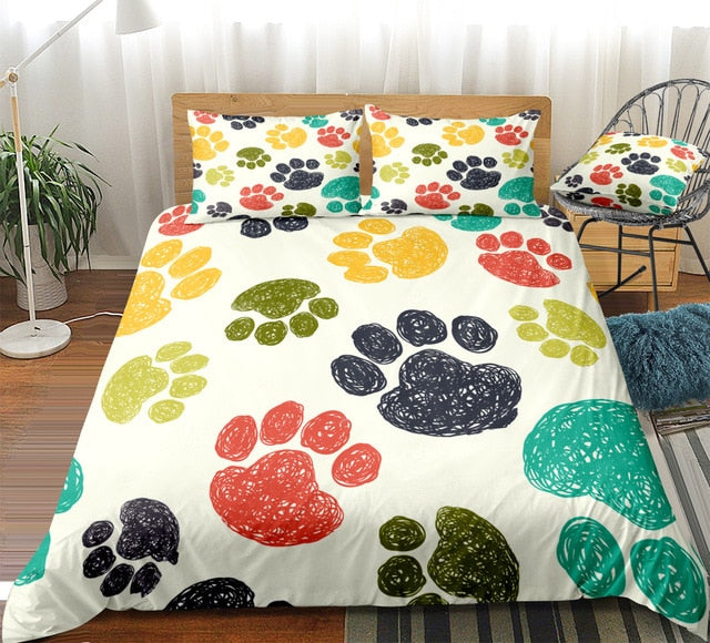 Dog Footprints Bedding Set - Beddingify