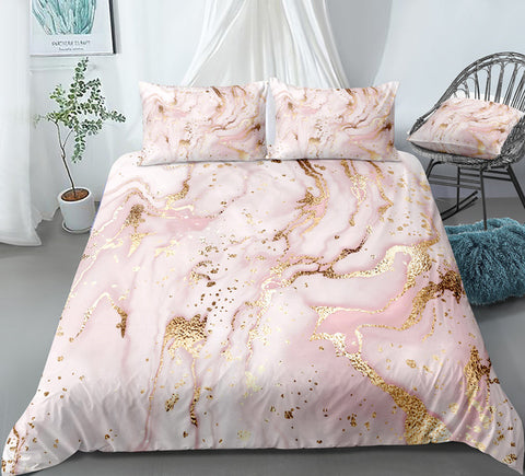 Gold Pink Quicksand Bedding Set - Beddingify