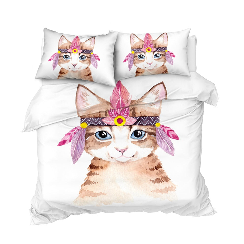 Girly Cat Bedding Set - Beddingify