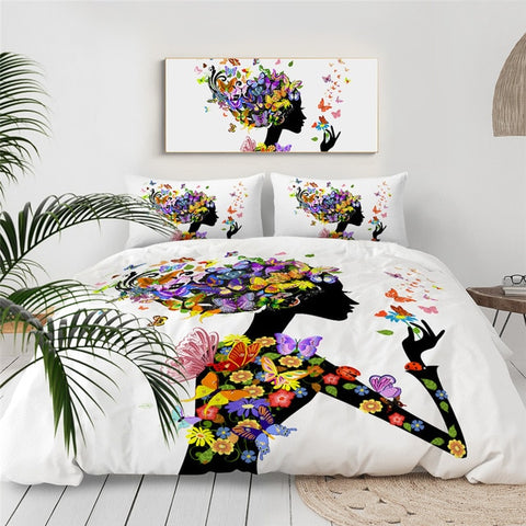 Image of Colorful Floral Black Girl Bedding Set - Beddingify