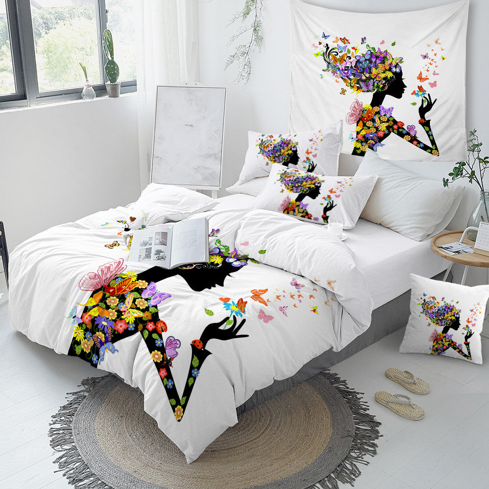 Colorful Floral Black Girl Bedding Set - Beddingify