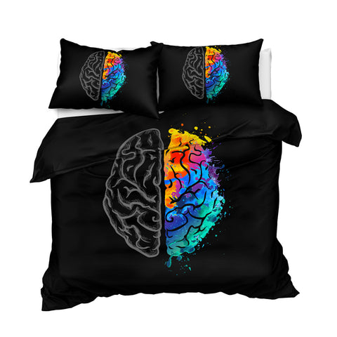 Image of Colorful Human Brain Bedding Set - Beddingify