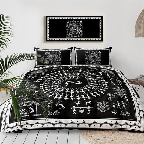 Image of Black Ancient Tribal Art  Bedding Set - Beddingify