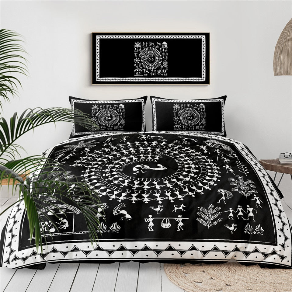 Black Ancient Tribal Art  Bedding Set - Beddingify