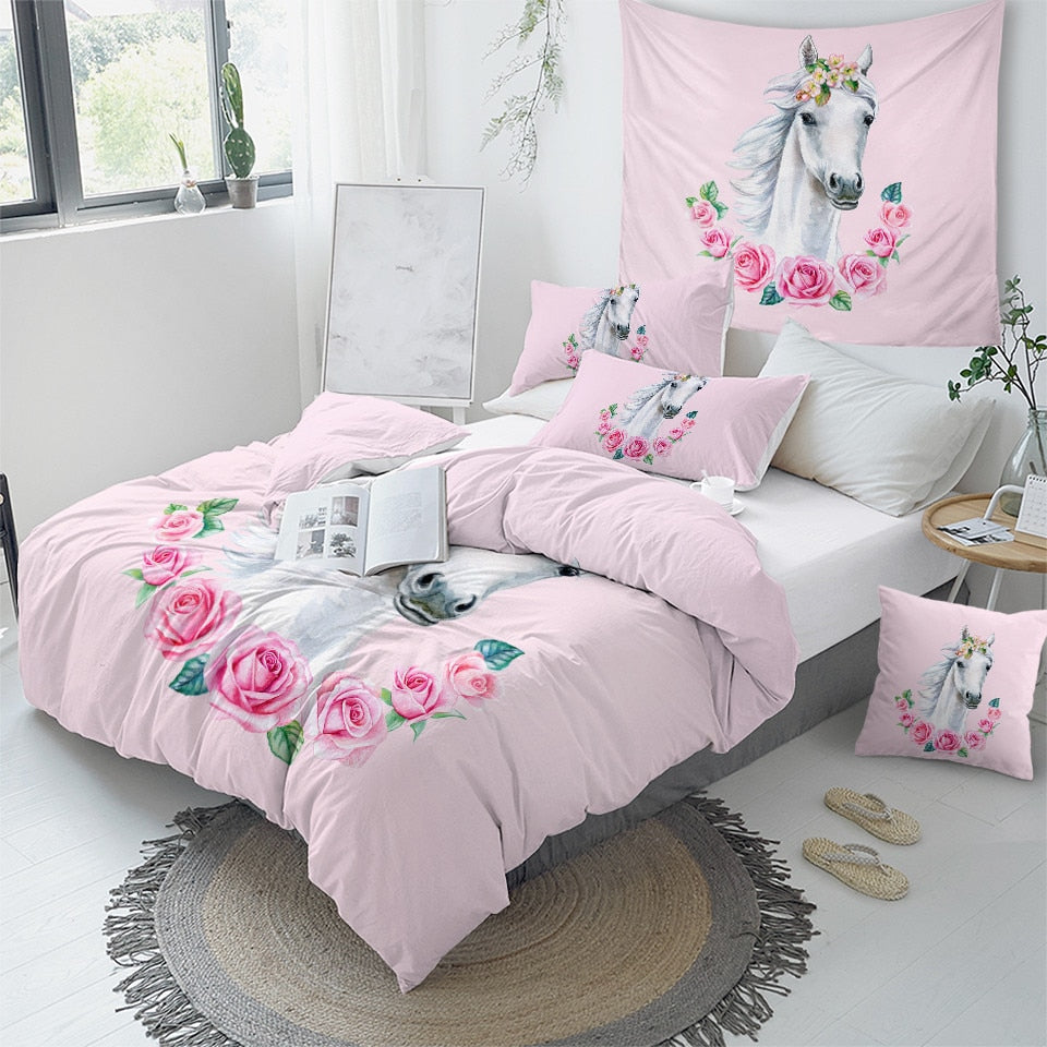 White Horse Bedding Set - Beddingify