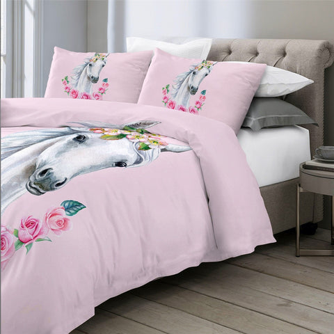 Image of White Horse Bedding Set - Beddingify