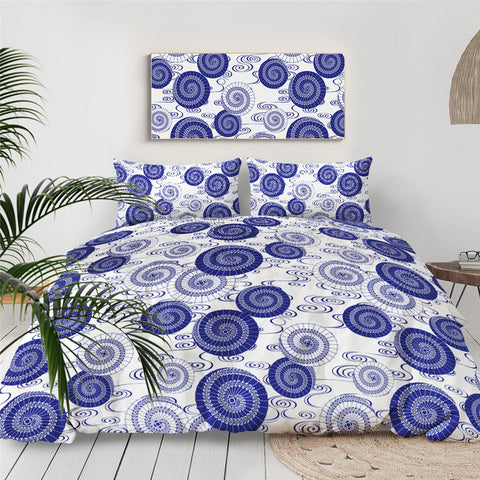 Image of Blue Abstract Art Floral Bedding Set - Beddingify
