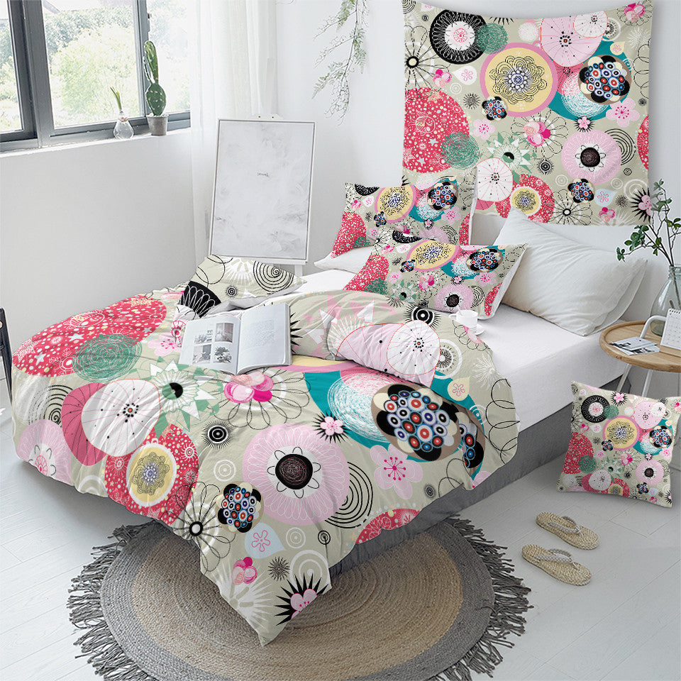 Abstract Art Floral Pink Bedding Set - Beddingify
