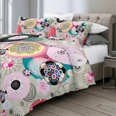 Image of Abstract Art Floral Pink Bedding Set - Beddingify