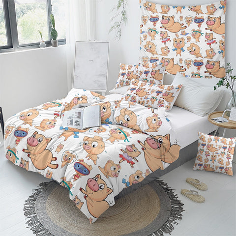 Image of Cartoon Pig Bedding Set - Beddingify