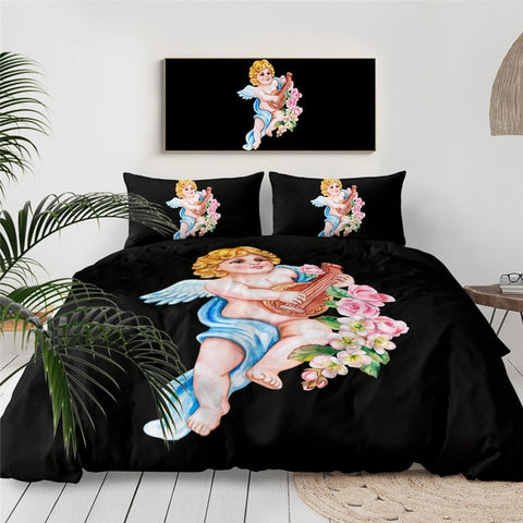 Image of Angel with Lute Bedding Set - Beddingify