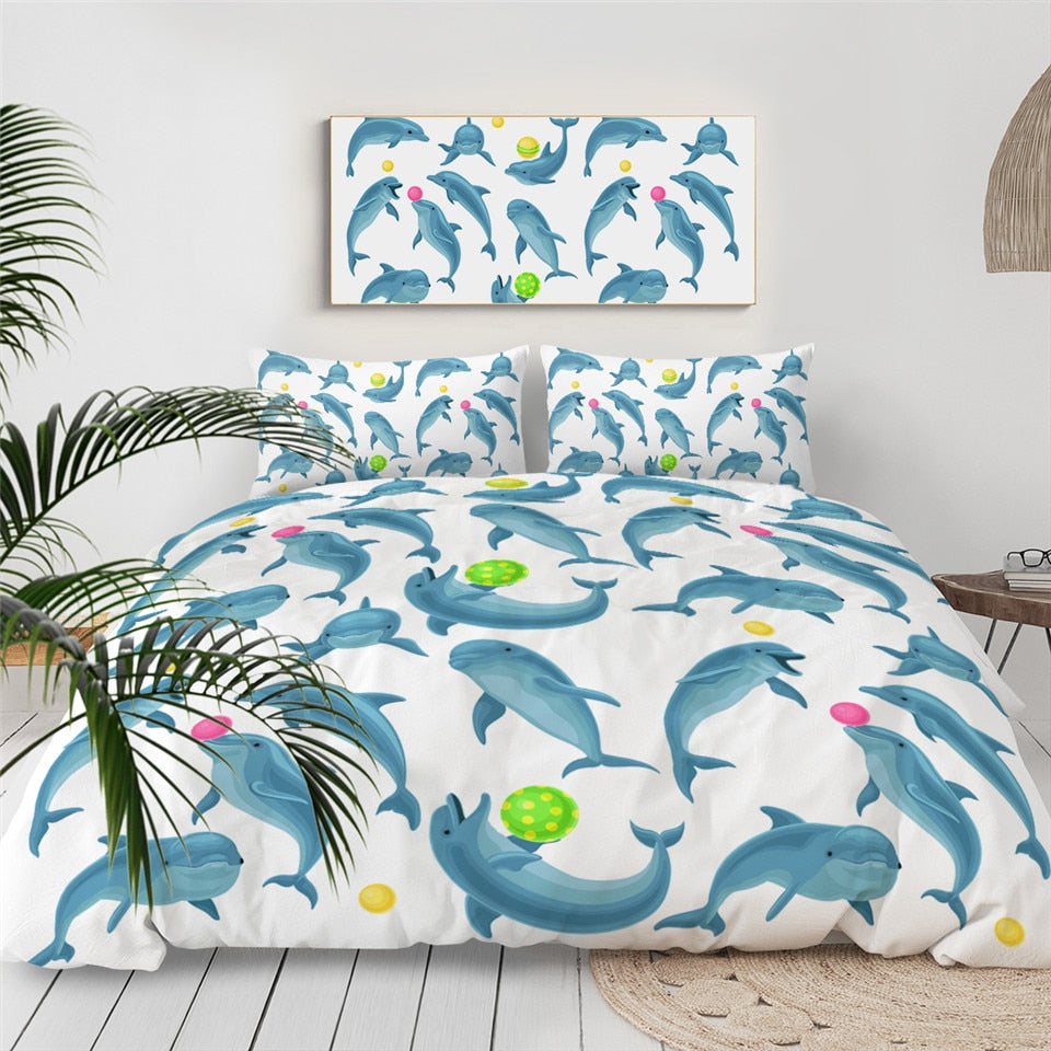 Blue Dolphin Bedding Set - Beddingify