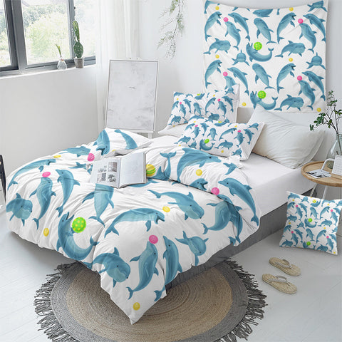 Image of Blue Dolphin Bedding Set - Beddingify