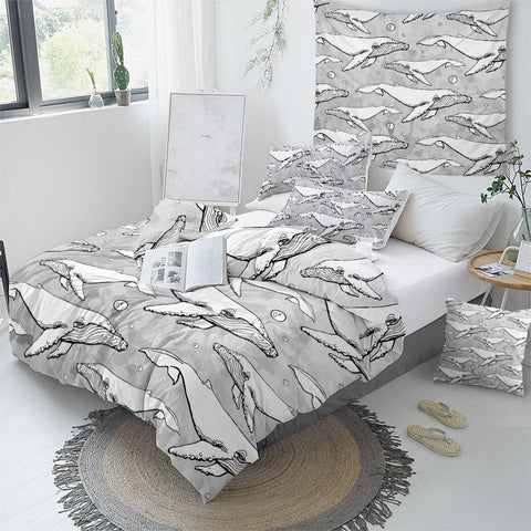 Image of White Whale Bedding Set - Beddingify