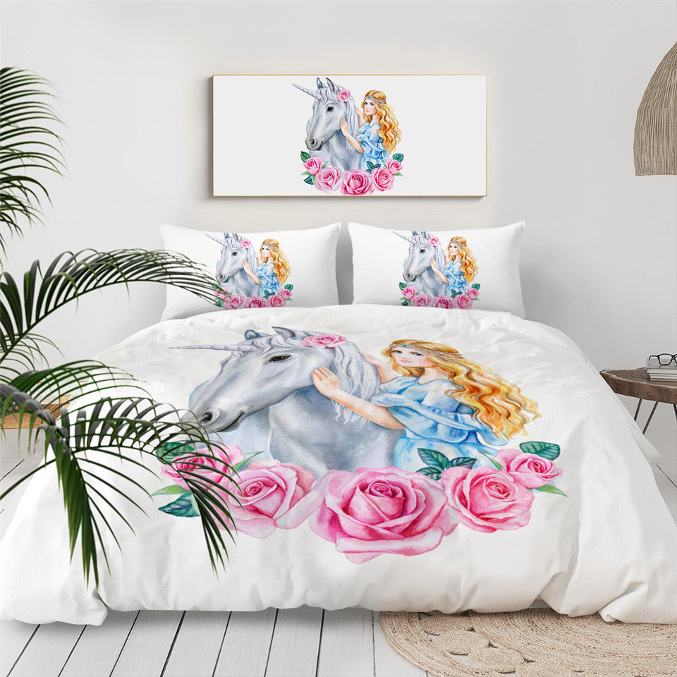Rose Unicorn Princess Bedding Set - Beddingify