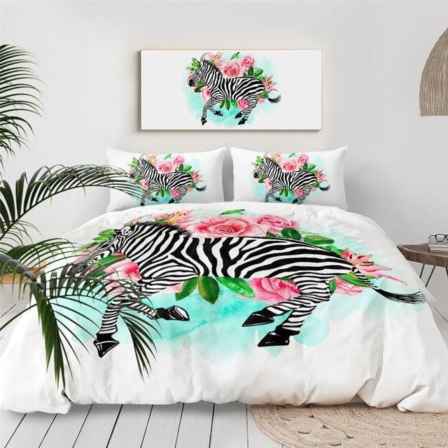 Flowers Zebra Bedding Set - Beddingify