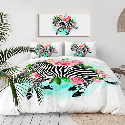 Image of Flowers Zebra Bedding Set - Beddingify