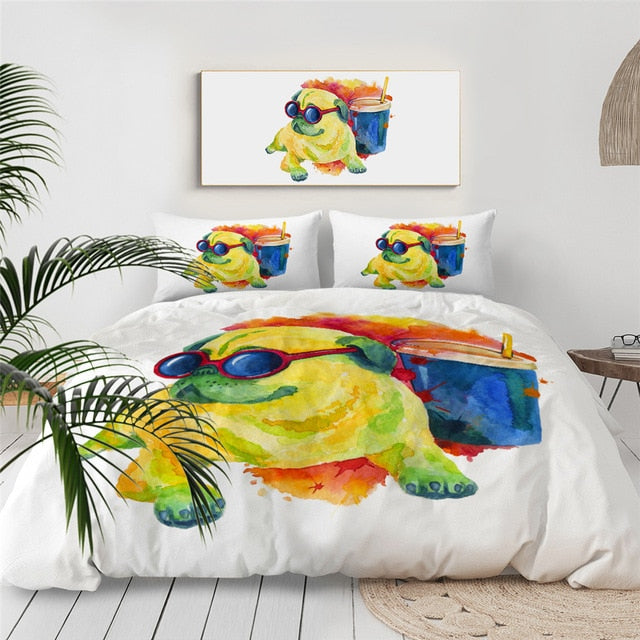 Colorful Pug Bedding Set - Beddingify