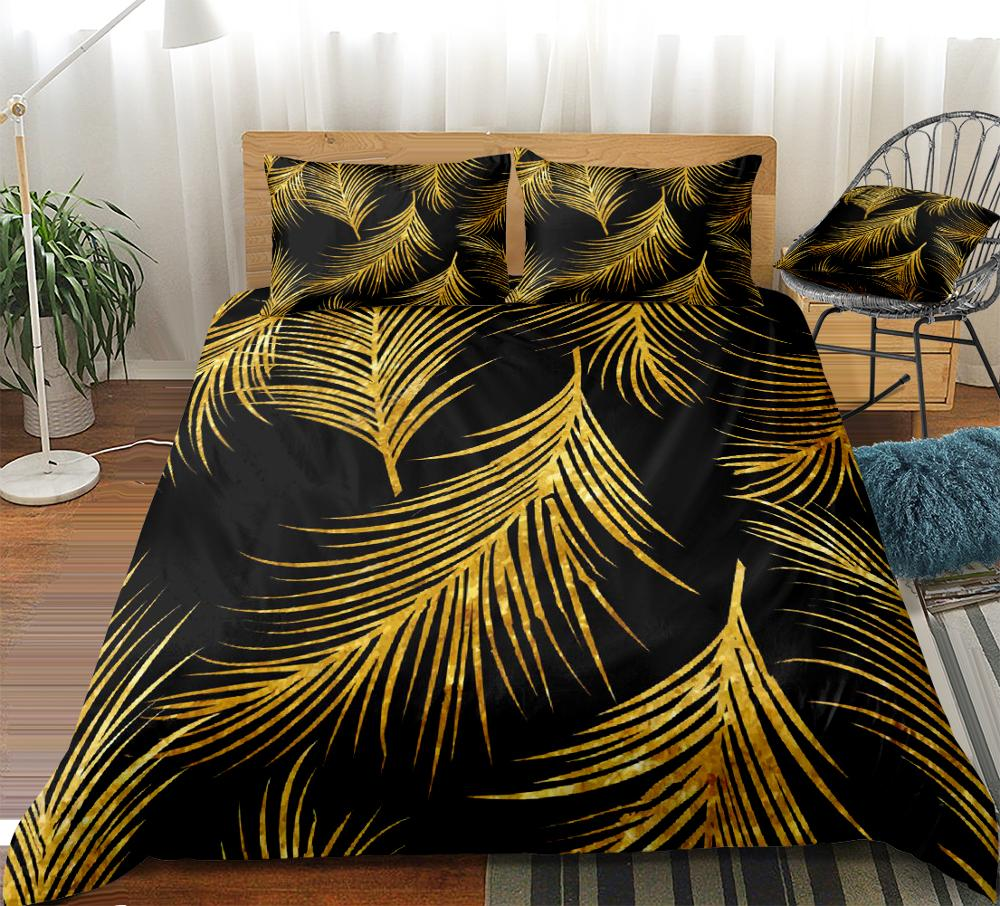 Golden Palm Leaf Bedding Set - Beddingify