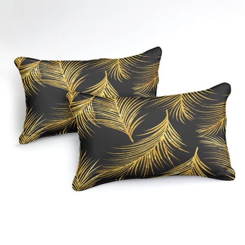Image of Golden Palm Leaf Bedding Set - Beddingify