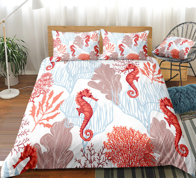 Red Seahorse Bedding Set - Beddingify