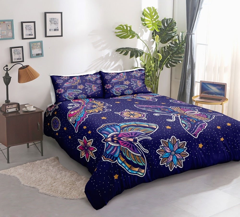 Purple Flower Butterflies Bedding Set - Beddingify