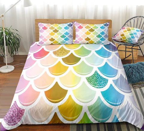 Colorful Glittering Mermaid Scale Bedding Set - Beddingify