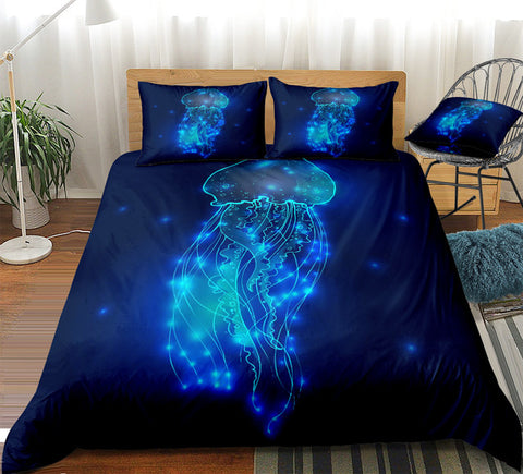Image of Dark Blue Jellyfish Bedding Set - Beddingify